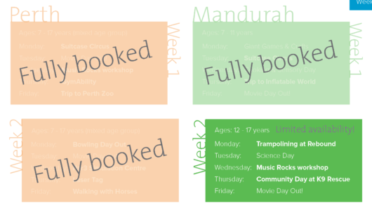 Update: School Holiday Programs are fully booked!