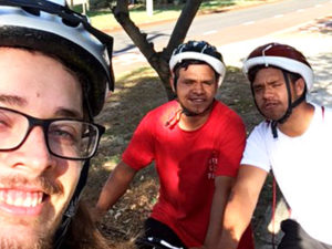 Alex and Brendan get out and about on two wheels