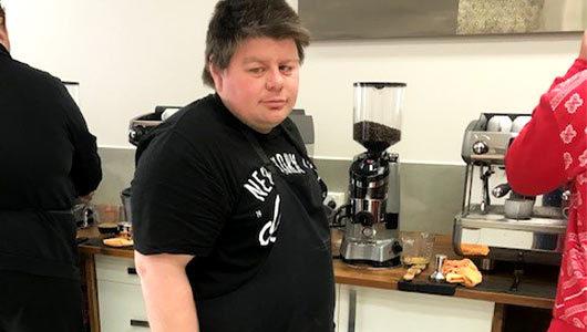 Beau trains to become a barista